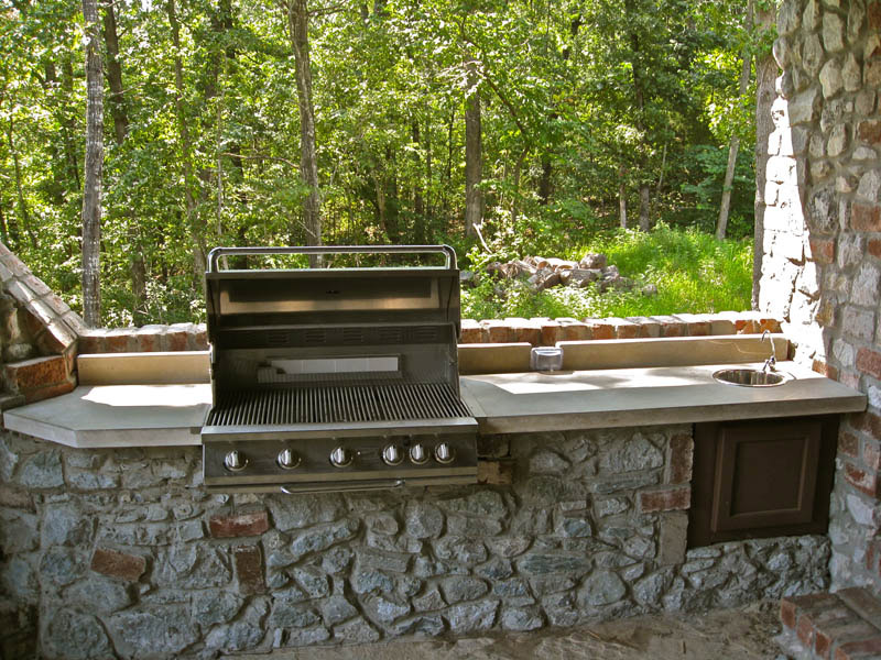 outdoor concrete grill and work area