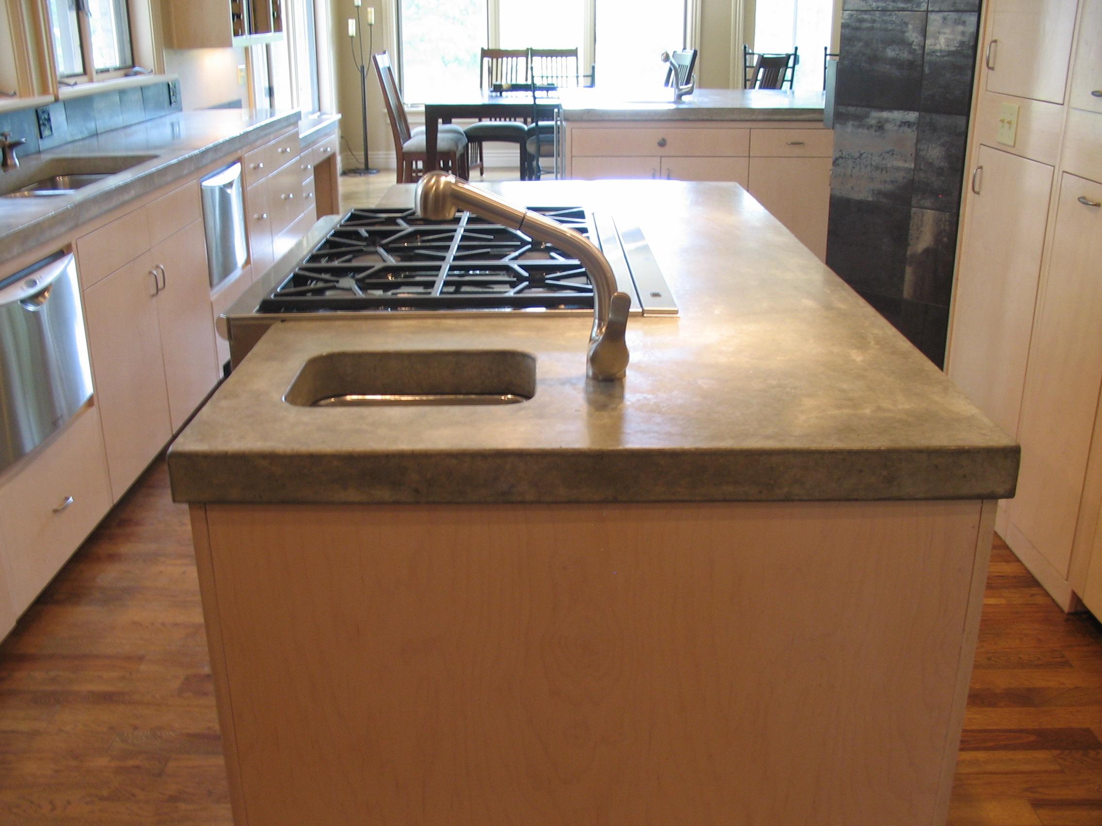 custom kitchen island concrete countertop Concrete Creations NWA