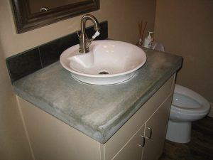 Integrated bathroom sink
