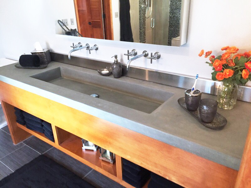 concrete copper bathroom sink