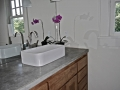 double concrete sink in master bathroom