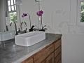 double concrete sink in master bathroom
